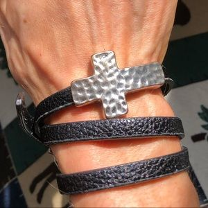 Silpada Hammered cross leather wrap bracelet